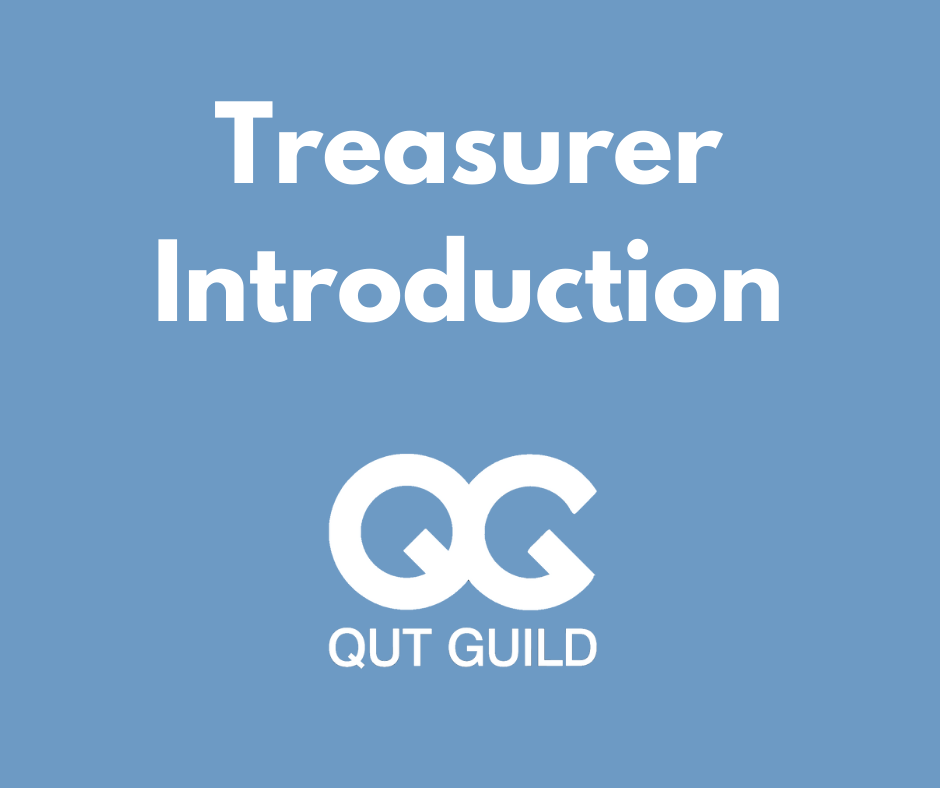 Blue background, white text: Treasurer Introduction QUT Guild QG logo
