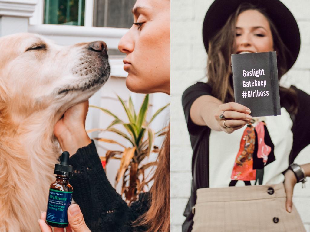 "Woman kisses dog holding CBD Oil, Beside woman holding notebook that says ""Gaslight, Gatekeep, #Girlboss."""