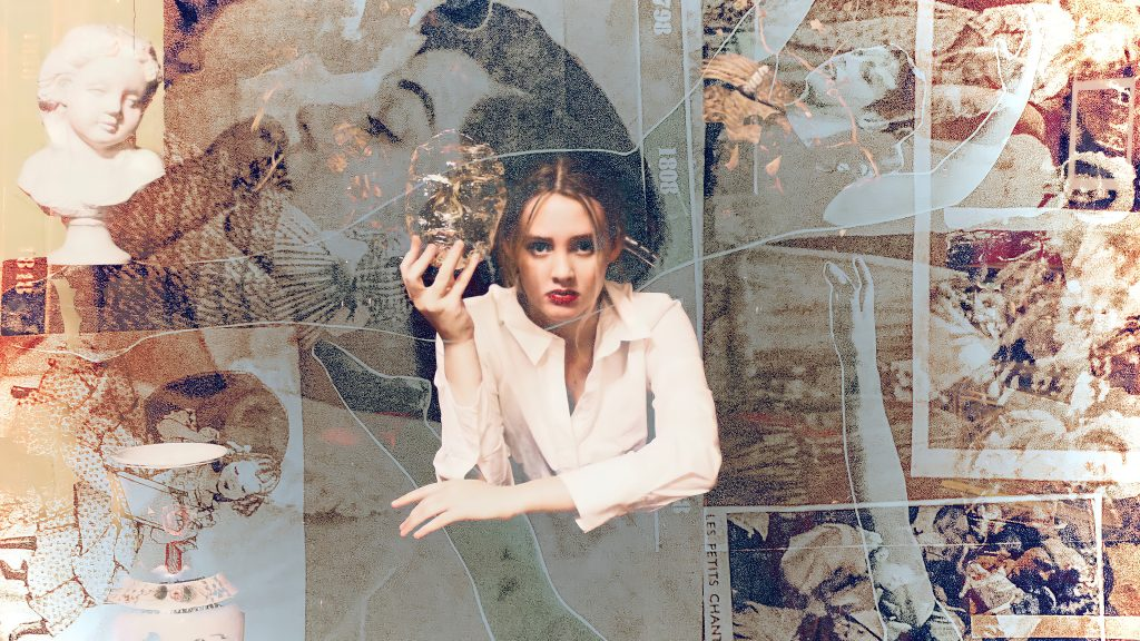 Image of a woman holding a mask mould of her face, superimposed with other semi-translucent vintage photographs.