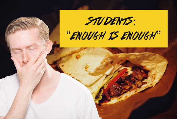"""Distraught man in front of burrito. Text: """"enough is enough"""""""
