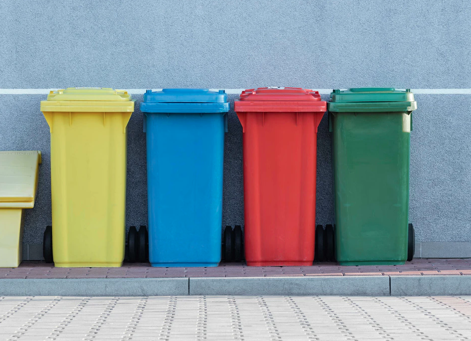 Four Bins: Yellow, Blue, Red, and Green