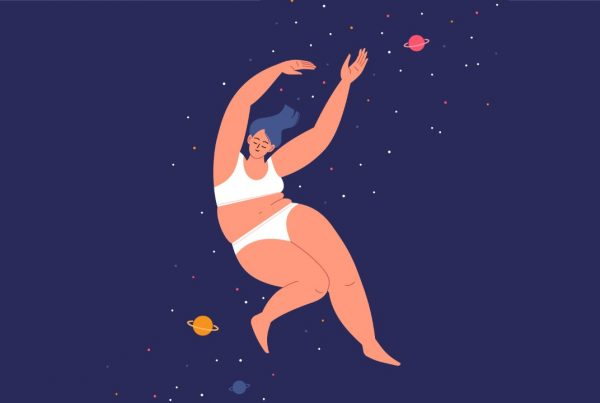 A woman falls through the night sky.