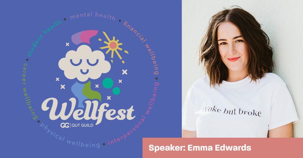 Text: Wellfest Logo. Image: Emma Edwards Headshot