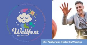 Left: Wellfest logo. Right: A man in a wheelachair, arm outstretched, tries to grab a basketball.