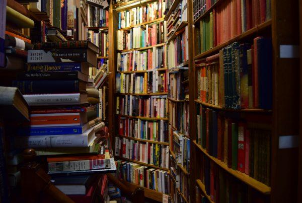 A hall of bookshelves