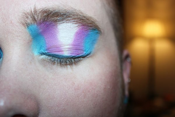 Person with eyeshadow. Colours in theme with the transgender flag.